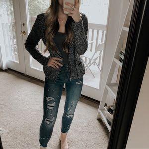 Bar III Heather Gray Knit Blazer Jacket